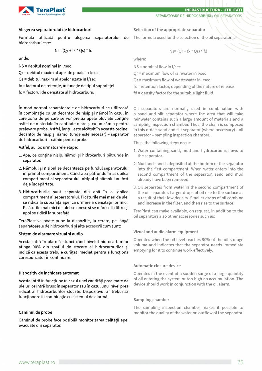 Pagina 3 - Separatoare de hidrocarburi TeraPlast Catalog, brosura Romana, Engleza mbunătăți...