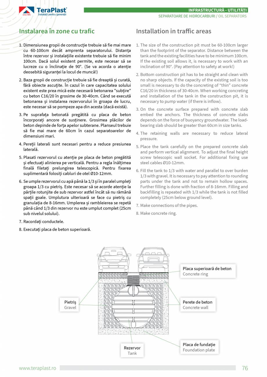 Pagina 4 - Separatoare de hidrocarburi TeraPlast Catalog, brosura Romana, Engleza h oil separators a...
