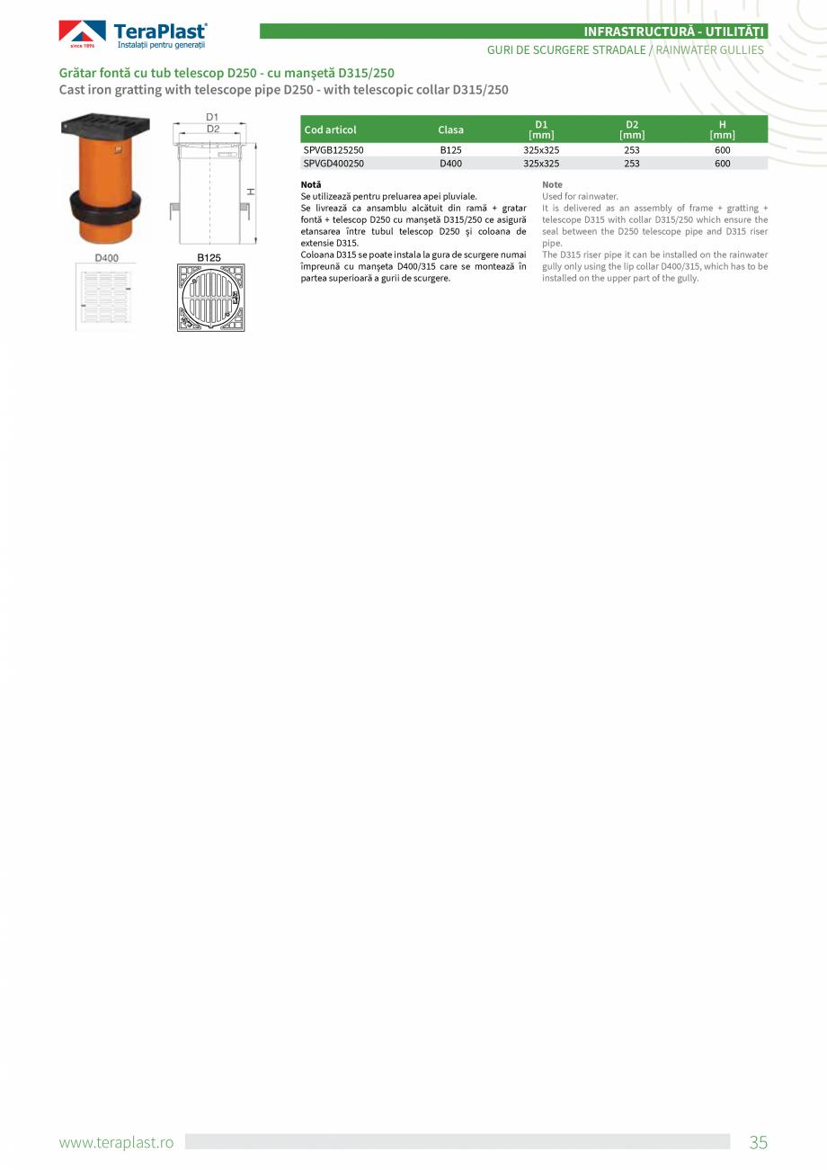 Pagina 7 - Guri de scurgere stradale TeraPlast Fisa tehnica Romana, Engleza ă de etanșare, astfel ...
