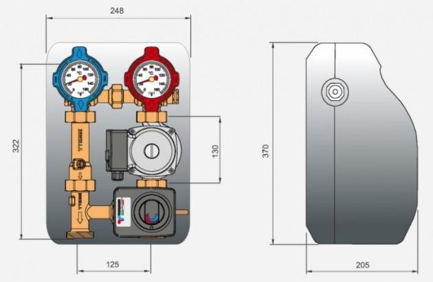 Schiță dimensiuni Grup de amestec cu servomotor pentru circuitele instalatilor de incalzire - 5535G3P