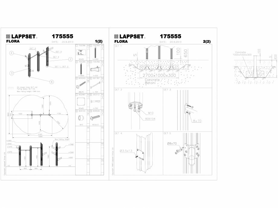 Pagina 1 - CAD-DWG Echipament de joaca pentru copii - 175555(2) LAPPSET Detaliu de produs FLORA