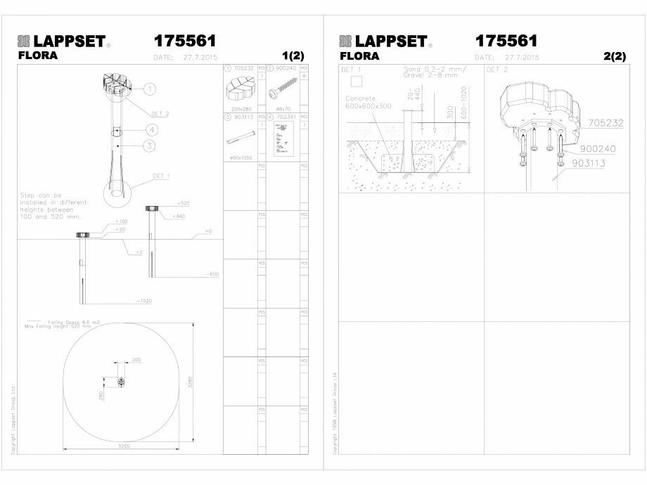 Pagina 1 - CAD-DWG Echipament de joaca pentru copii - 175561(2) LAPPSET Detaliu de produs FLORA