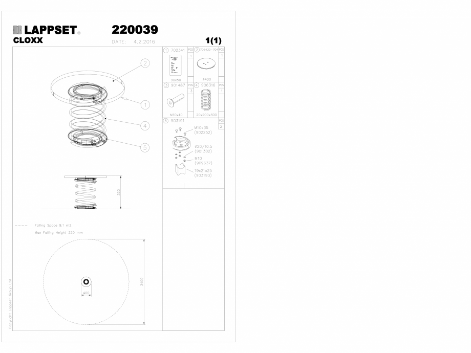 Pagina 1 - CAD-DWG Echipament de joaca pentru copii - 220039(2) LAPPSET Detaliu de produs CLOXX
