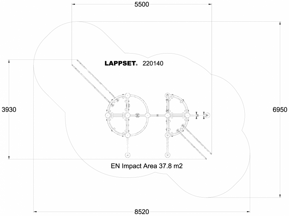 Pagina 1 - CAD-DWG Echipament de joaca pentru copii - 220140(1) LAPPSET Detaliu de produs CLOXX
