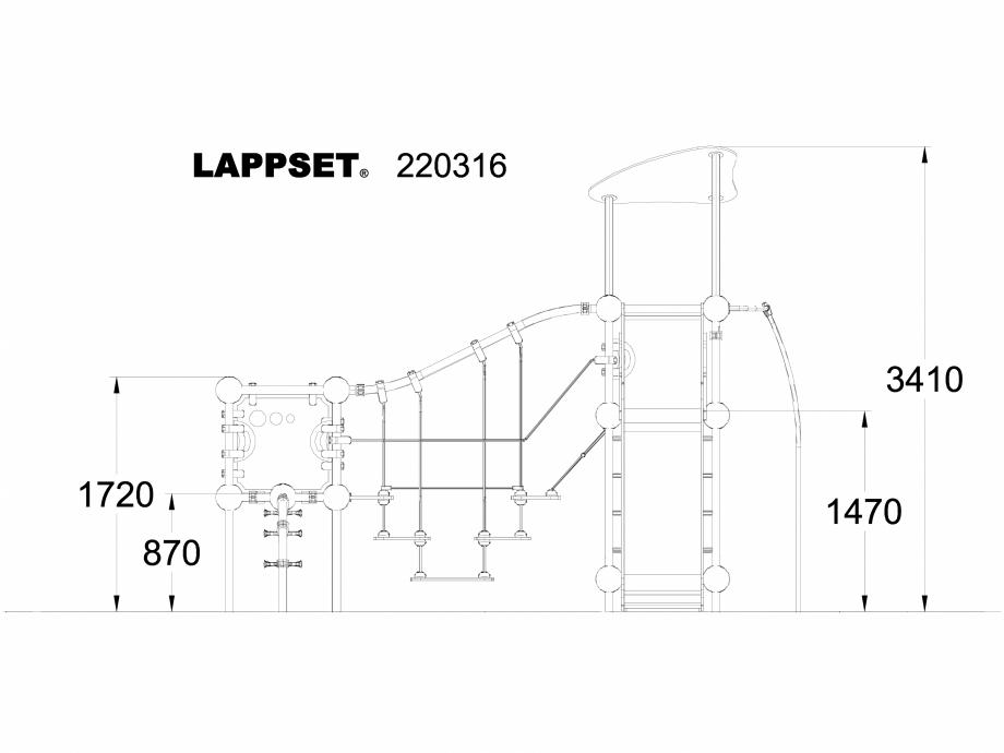 Pagina 1 - CAD-DWG Echipament de joaca pentru copii - 220316 LAPPSET Detaliu de produs CLOXX