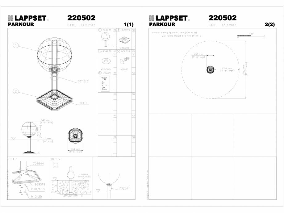Pagina 1 - CAD-DWG Echipament de joaca pentru copii - 220502(1) LAPPSET Detaliu de produs CLOXX