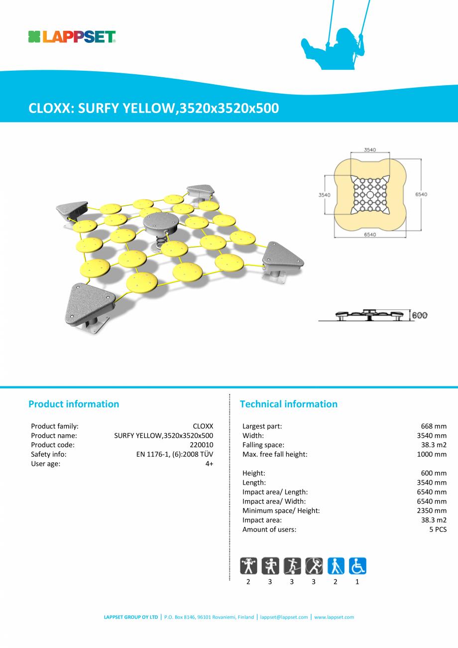 Pagina 1 - Echipament pentru echilibru SURFY YELLOW,3520x3520x500 - 220010 LAPPSET CLOXX Fisa...