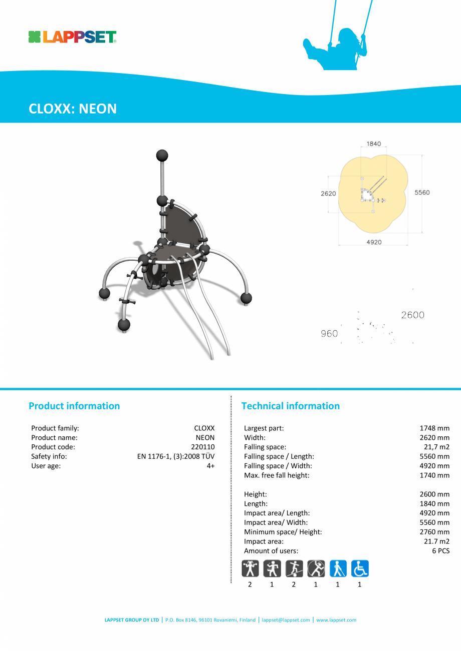 Pagina 1 - Echipament de catarat NEON 220110 LAPPSET CLOXX Fisa tehnica Engleza CLOXX: NEON  Product...
