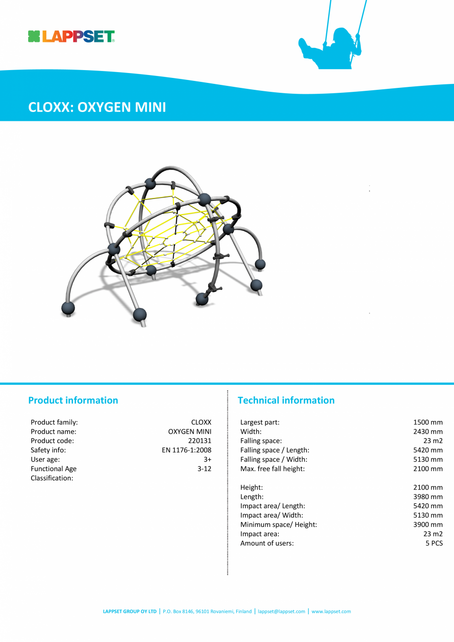 Pagina 1 - Echipament de catarat OXYGEN MINI 220131 LAPPSET CLOXX Fisa tehnica Engleza CLOXX: OXYGEN...