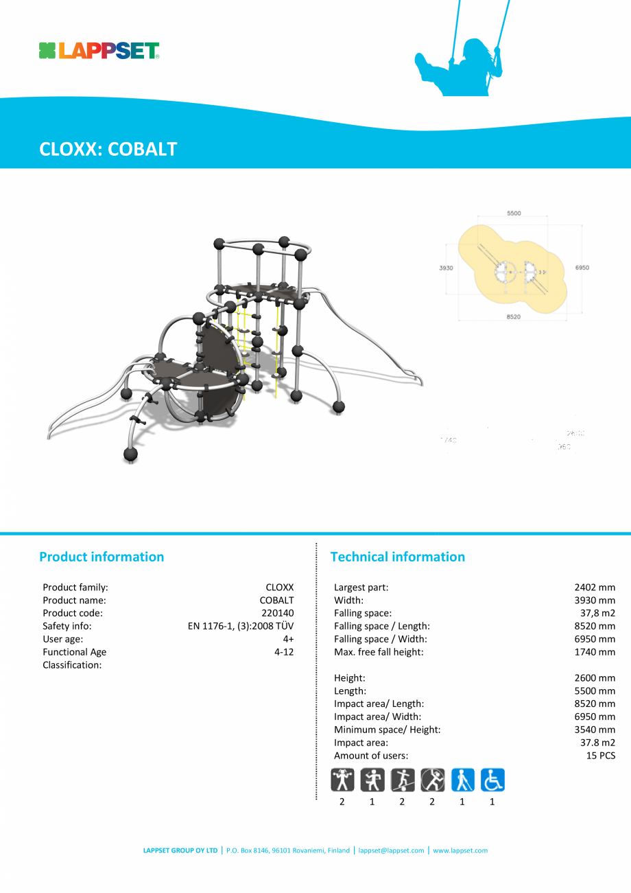 Pagina 1 - Echipament de catarat COBALT 220140 LAPPSET CLOXX Fisa tehnica Engleza CLOXX: COBALT ...