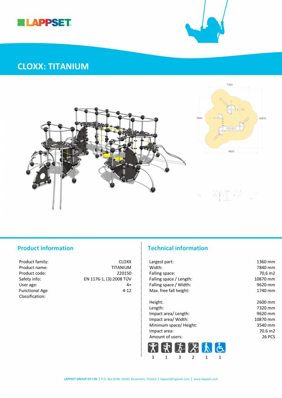 Pagina 1 - Echipament de catarat TITANIUM 220150 LAPPSET CLOXX Fisa tehnica Engleza CLOXX: TITANIUM ...
