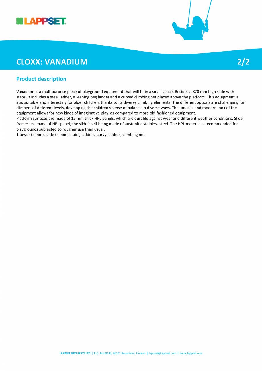 Pagina 2 - Echipament de catarat cu tobogan VANADIUM 220313 LAPPSET CLOXX Fisa tehnica Engleza  to...