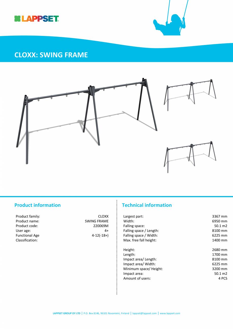 Pagina 1 - Cadru de leagan SWING FRAME 220069M LAPPSET CLOXX Fisa tehnica Engleza CLOXX: SWING FRAME...