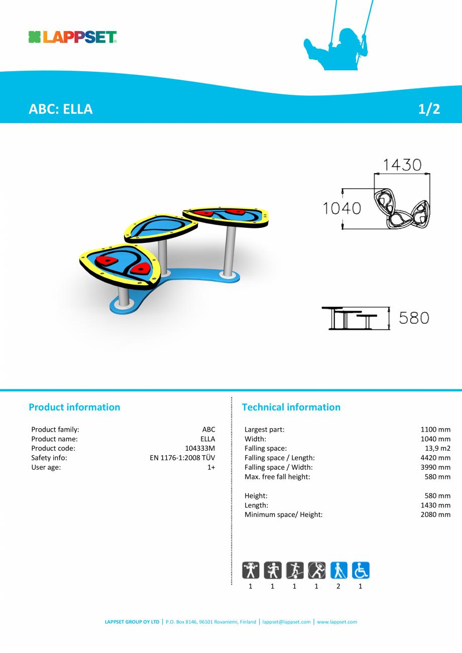 Pagina 1 - Echipament de joaca pentru copii sub 4 ani ELLA 104333M  LAPPSET FINNO ABC Fisa tehnica...