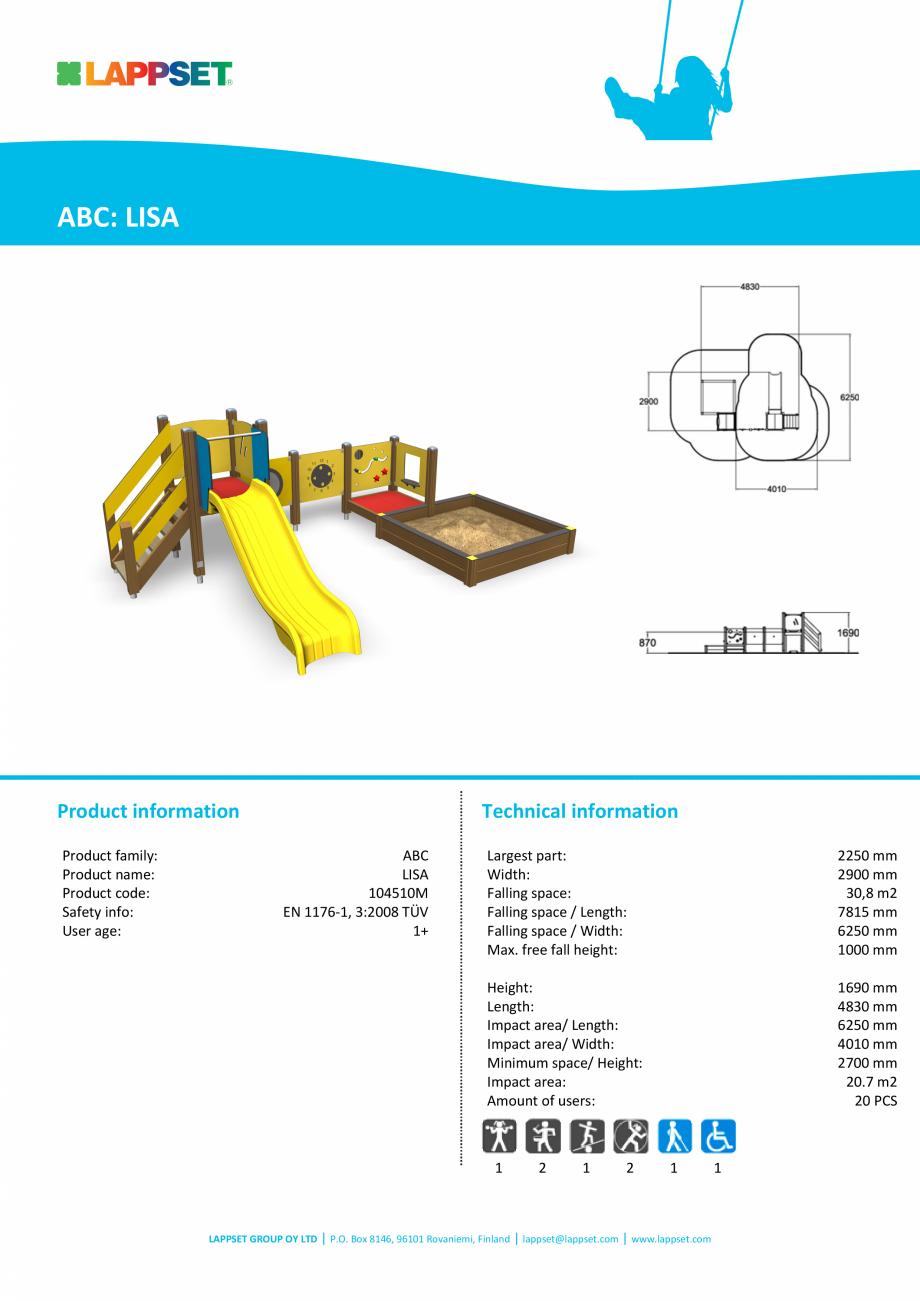 Pagina 1 - Echipament de joaca pentru copii sub 4 ani LISA 104510M LAPPSET FINNO ABC Fisa tehnica...