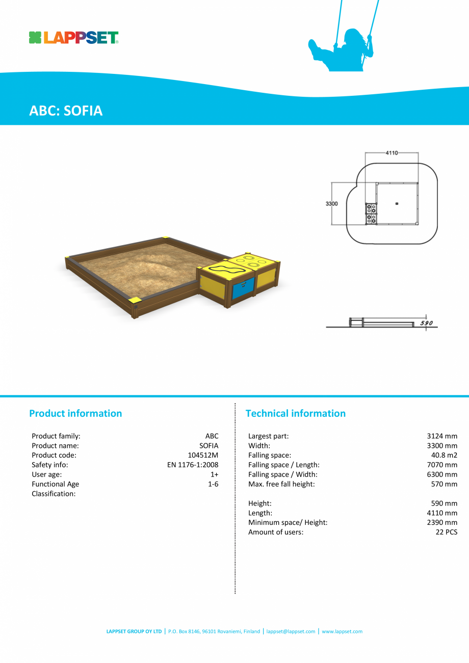 Pagina 1 - Echipament de joaca pentru copii sub 4 ani SOFIA 104512M LAPPSET FINNO ABC Fisa tehnica...