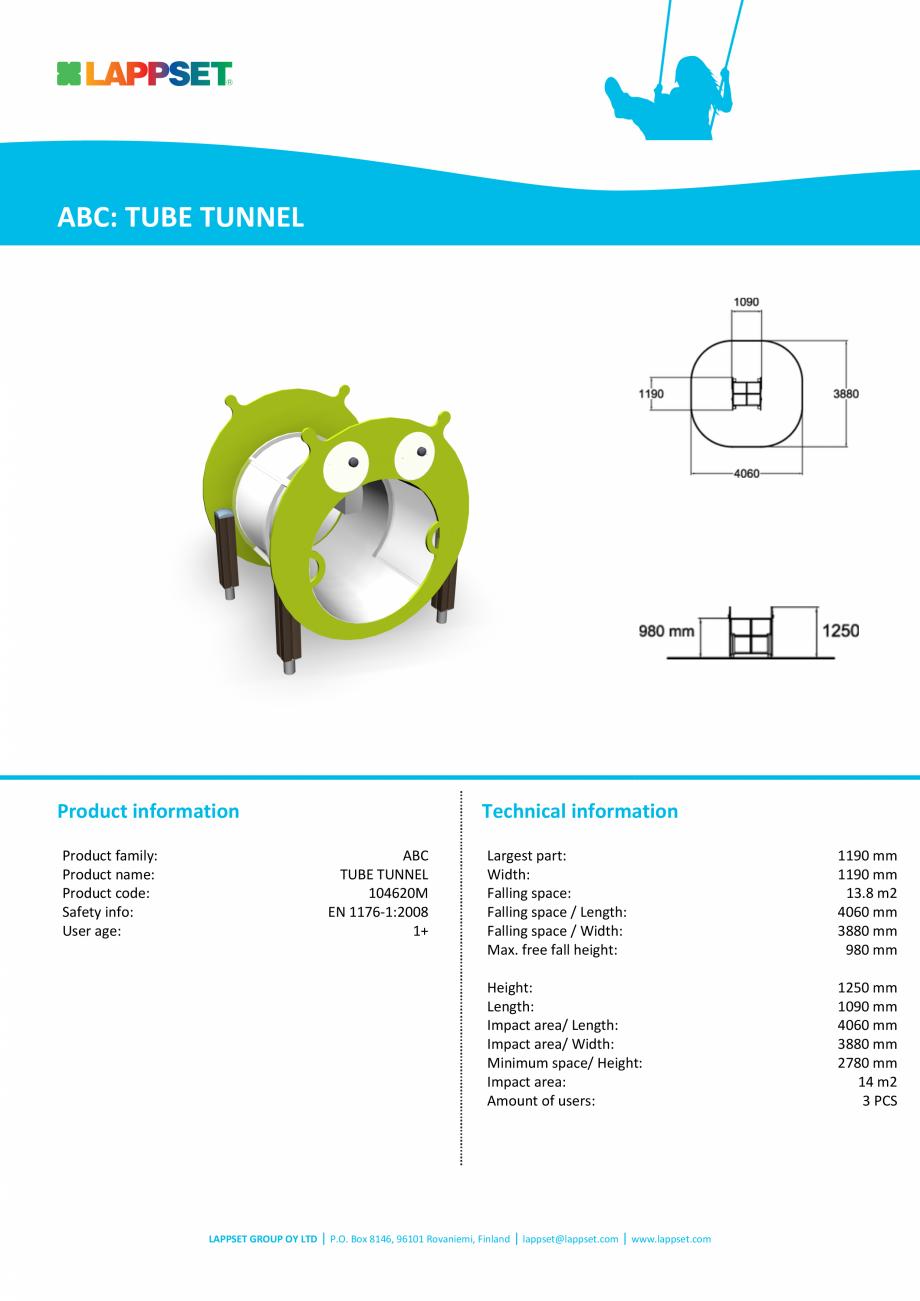 Pagina 1 - Echipament de joaca pentru copii sub 4 ani Tunel tubular 104620m LAPPSET FINNO ABC Fisa...