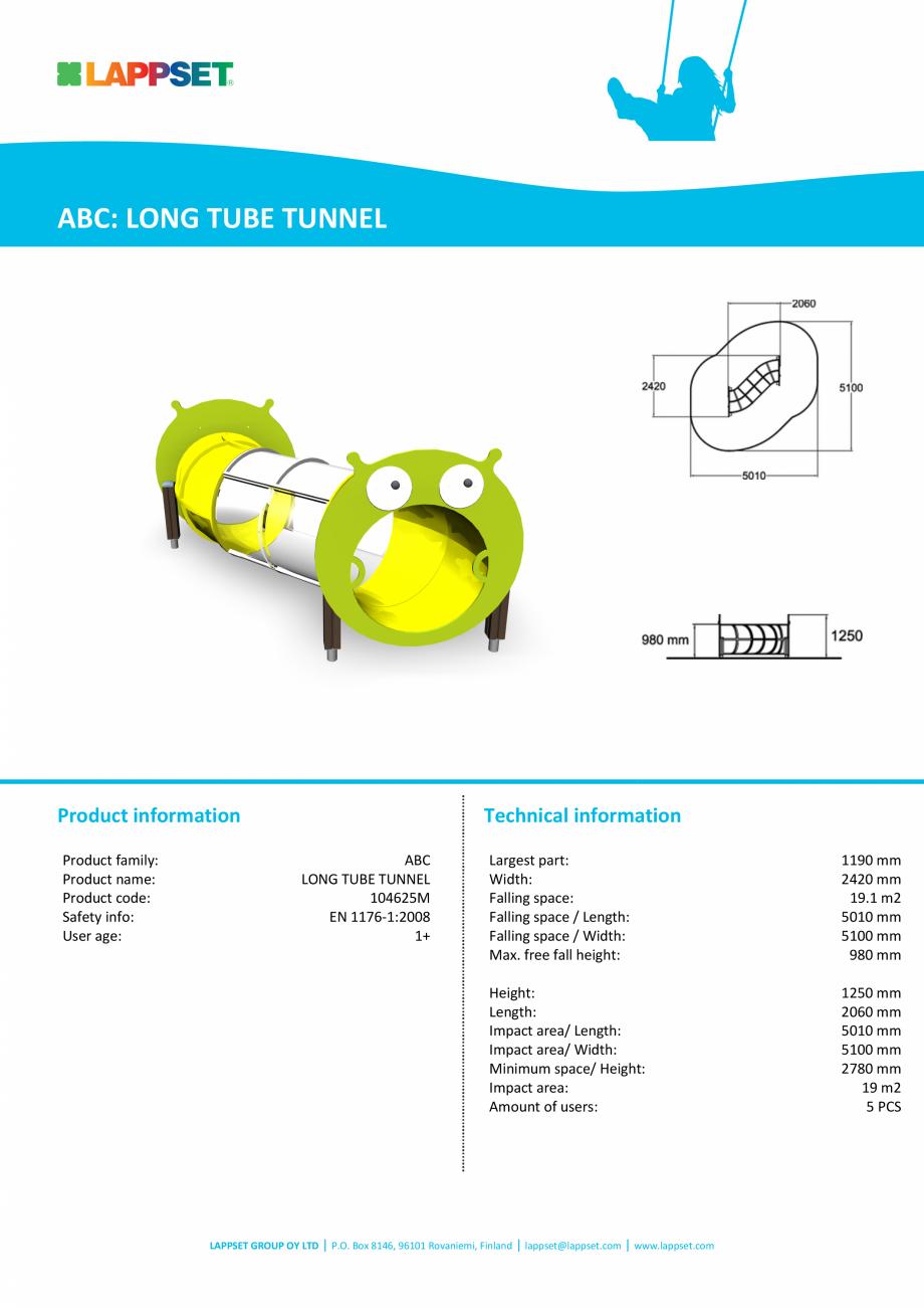 Pagina 1 - Echipament de joaca pentru copii sub 4 ani Tunel tubular lung 104625M LAPPSET FINNO ABC...