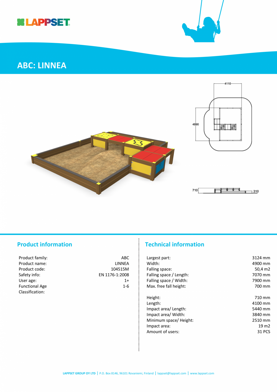 Pagina 1 - Echipament de joaca pentru copii sub 4 ani LINNEA 104515M LAPPSET FINNO ABC Fisa tehnica ...