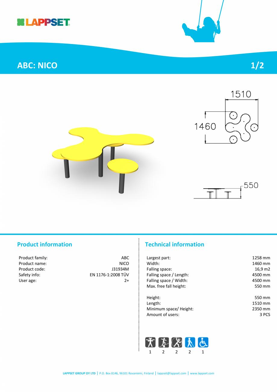 Pagina 1 - Echipament de joaca pentru copii sub 4 ani NICO J31934M LAPPSET FINNO ABC Fisa tehnica...