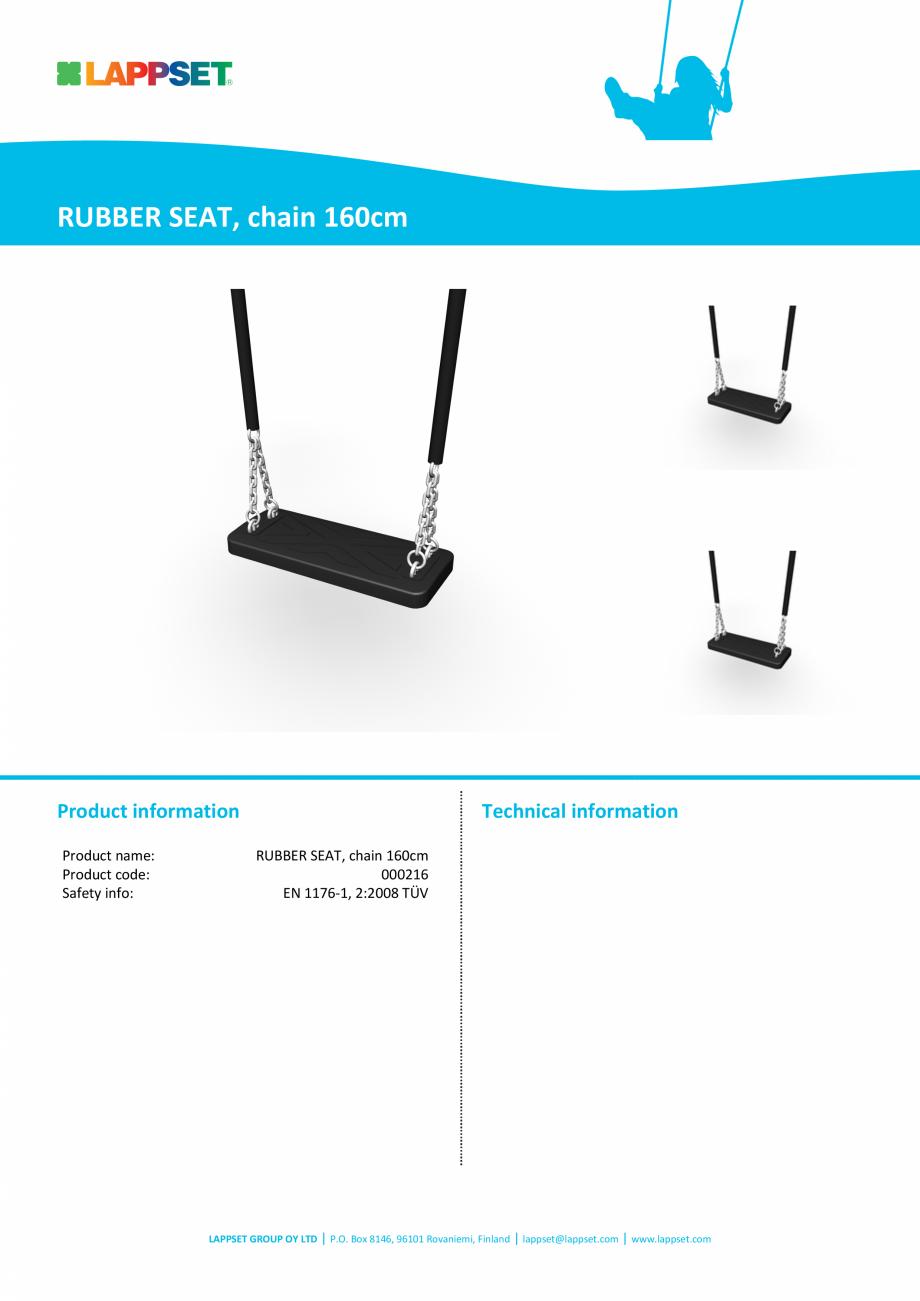 Pagina 1 - 000216_RUBBER SEAT, chain 160cm LAPPSET FINNO ABC Fisa tehnica Engleza RUBBER SEAT, chain...