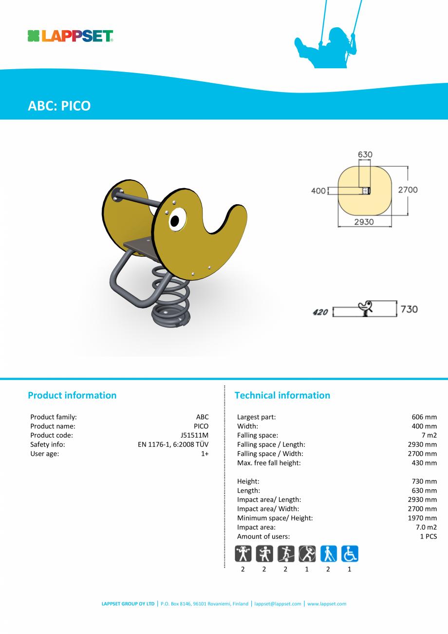 Pagina 1 - Echipament de joaca pentru copii sub 4 ani PICO J51511M LAPPSET FINNO ABC Fisa tehnica...