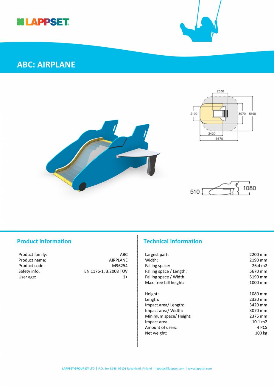 Pagina 1 - Echipament de joaca pentru copii sub 4 ani Avion M96254 LAPPSET FINNO ABC Fisa tehnica...