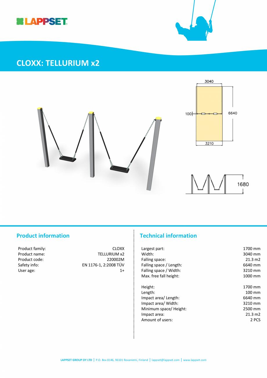 Pagina 1 - Echipament de joaca pentru copii sub 4 ani TELLURIIUM x2 220002M LAPPSET FINNO ABC Fisa...