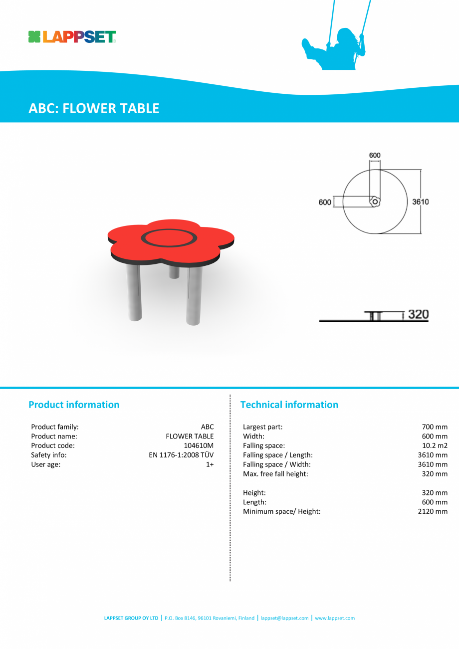 Pagina 1 - Echipament de joaca pentru copii sub 4 ani FLOWER TABLE 104610M LAPPSET FINNO ABC Fisa...