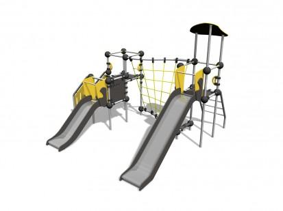 BARIUM - Echipament de catarat cu tobogan 220328 CLOXX Echipamente de joaca din metal pentru copii