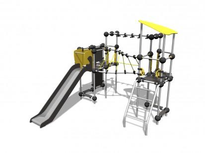 CESIUM - Echipament de catarat cu tobogan 220338 CLOXX Echipamente de joaca din metal pentru copii