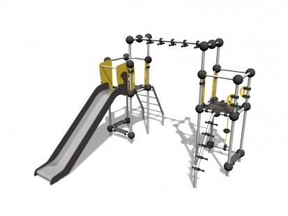 XENON - Echipament de catarat cu tobogan 220320 CLOXX Echipamente de joaca din metal pentru copii