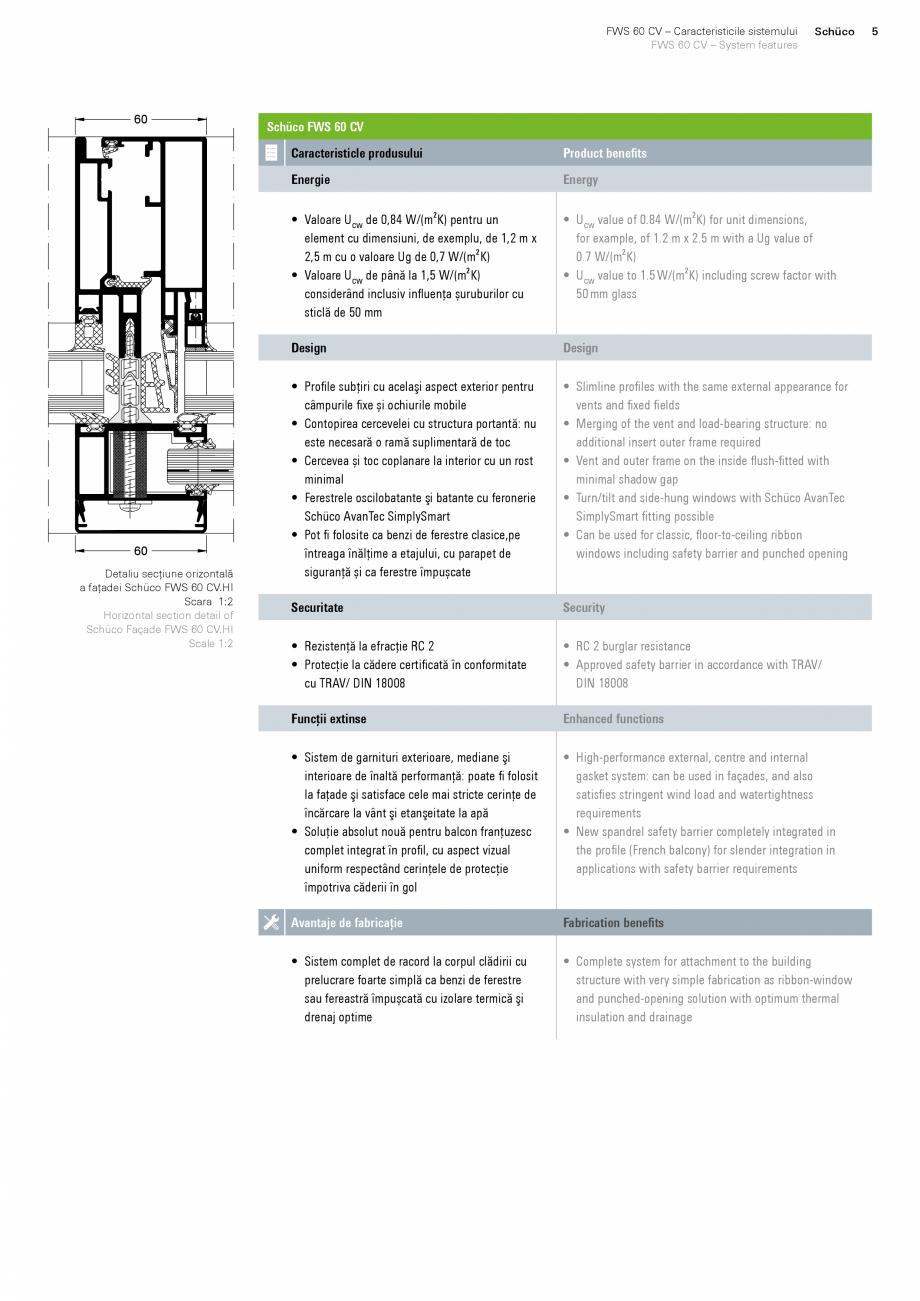 Pagina 5 - Sistem de profile din aluminiu pentru pereti cortina SCHUCO FWS 60 CV Fisa tehnica Romana...
