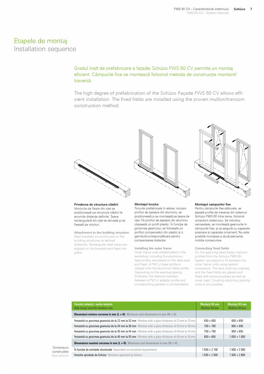Pagina 7 - Sistem de profile din aluminiu pentru pereti cortina SCHUCO FWS 60 CV Fisa tehnica Romana...