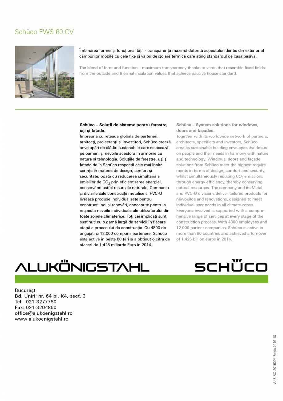 Pagina 12 - Sistem de profile din aluminiu pentru pereti cortina SCHUCO FWS 60 CV Fisa tehnica...