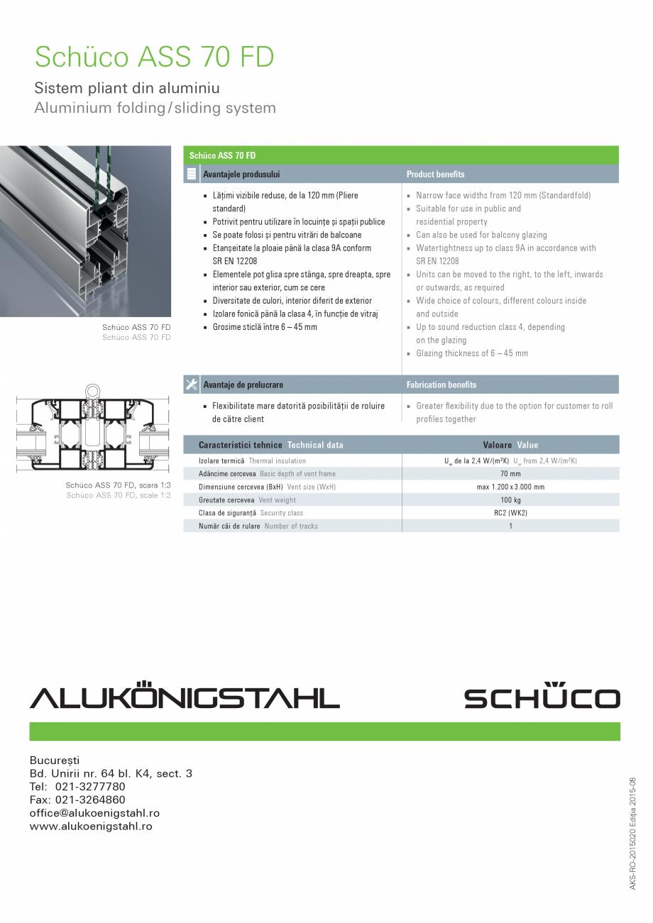 Pagina 2 - Sistem pliant din aluminiu SCHUCO ASS 70 FD Fisa tehnica Engleza, Romana hüco ASS 70 FD ...