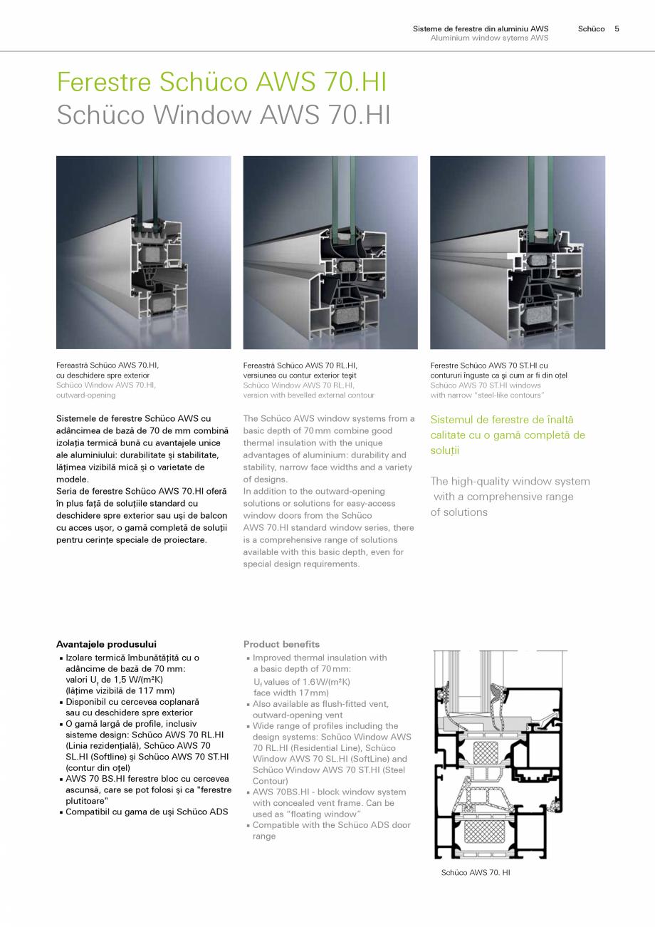 Catalog brosura sisteme de profile pentru ferestre aws 65 for Schuco aws 75 bs hi