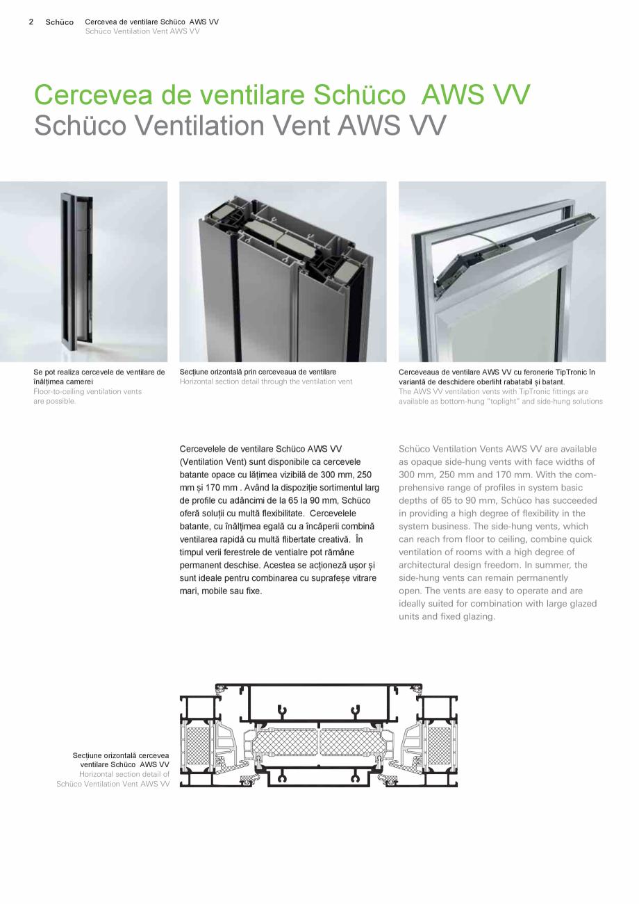 Pagina 2 - Cercevea de ventilare SCHUCO AWS VV Fisa tehnica Romana, Engleza  vizibilă de 300 mm,...
