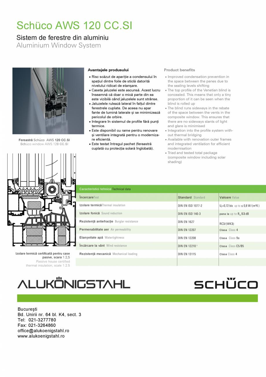 Pagina 2 - Sistem de ferestre din aluminiu SCHUCO AWS 120 CC.SI Fisa tehnica Romana, Engleza cest...