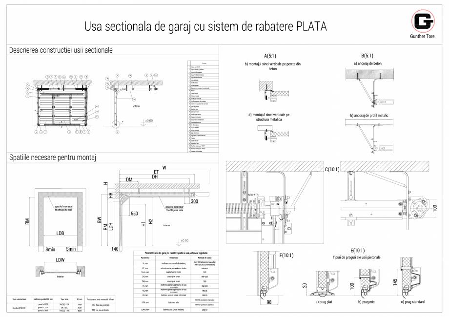 Pagina 1 - CAD-PDF Cote usa de garaj cu rabatere plata GUNTHER-TORE Detaliu de montaj