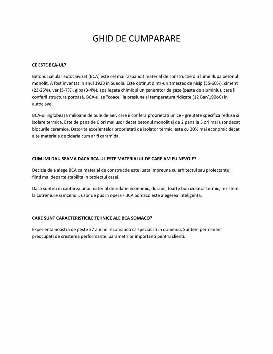 Pagina 1 - Ghid de cumparare a blocurile BCA SOMACO Catalog, brosura Romana GHID DE CUMPARARE CE...