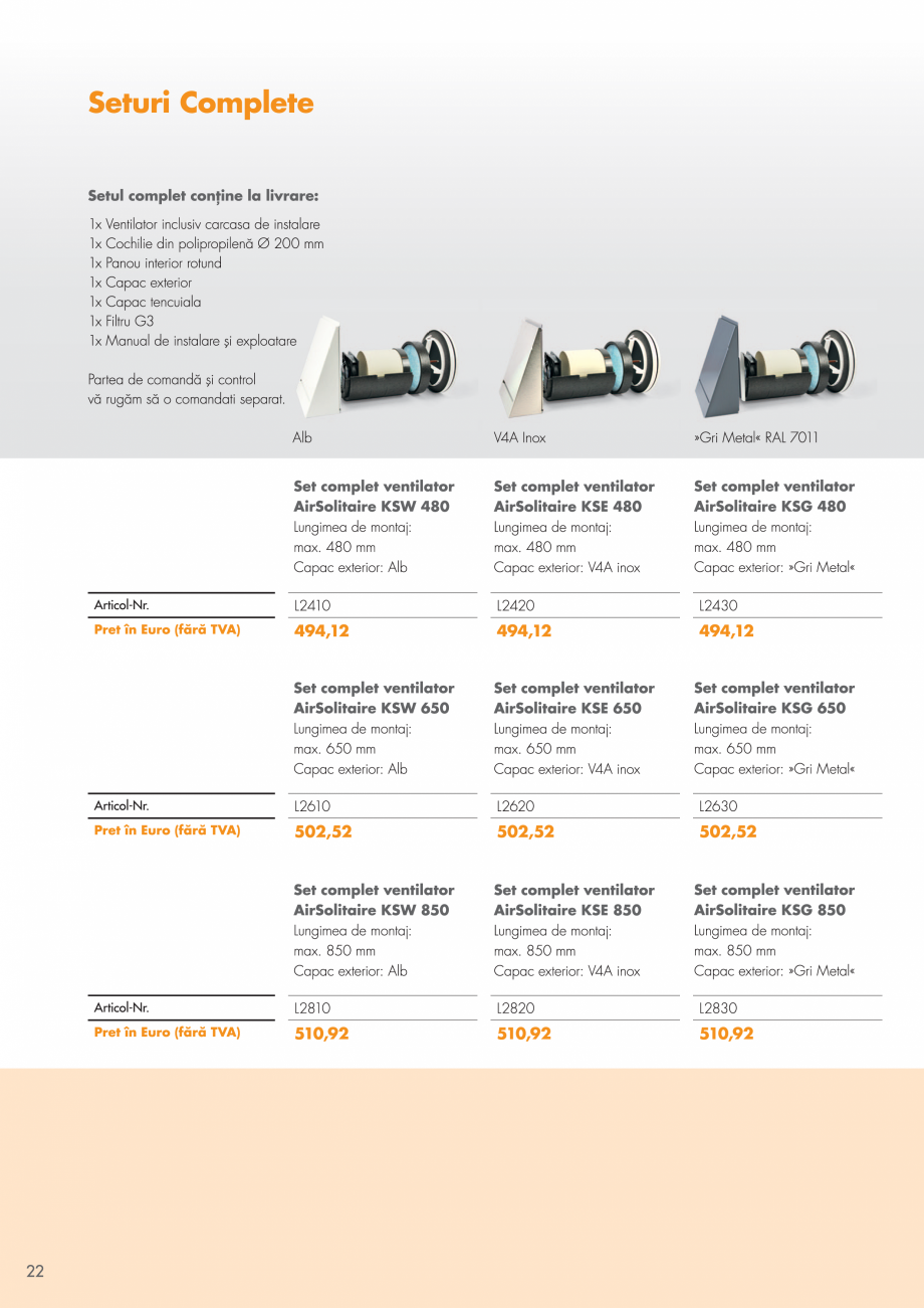 Pagina 22 - Ventilatie cu recuperarea caldurii MAXXXCOMFORT Air Solitaire, BiVent, Air...
