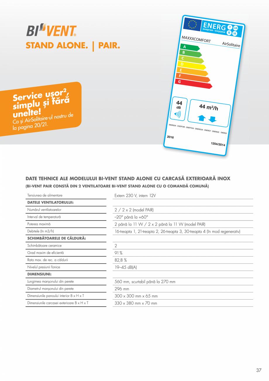 Pagina 37 - Ventilatie cu recuperarea caldurii MAXXXCOMFORT Air Solitaire, BiVent, Air...