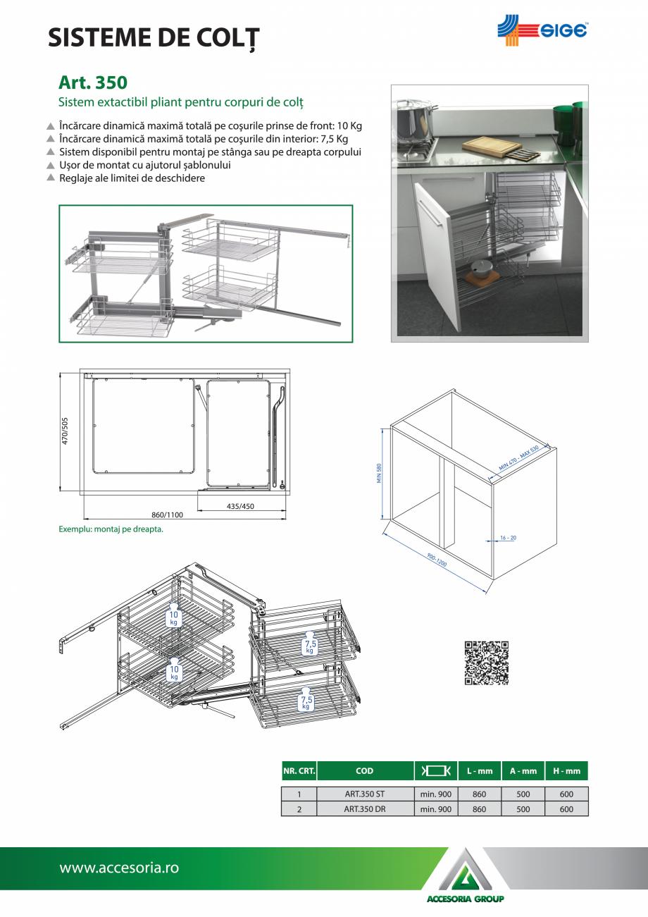 Pagina 1 - Sistem extactibil pliant pentru corpuri de colt ACCESORIA GROUP Art 350 Fisa tehnica...