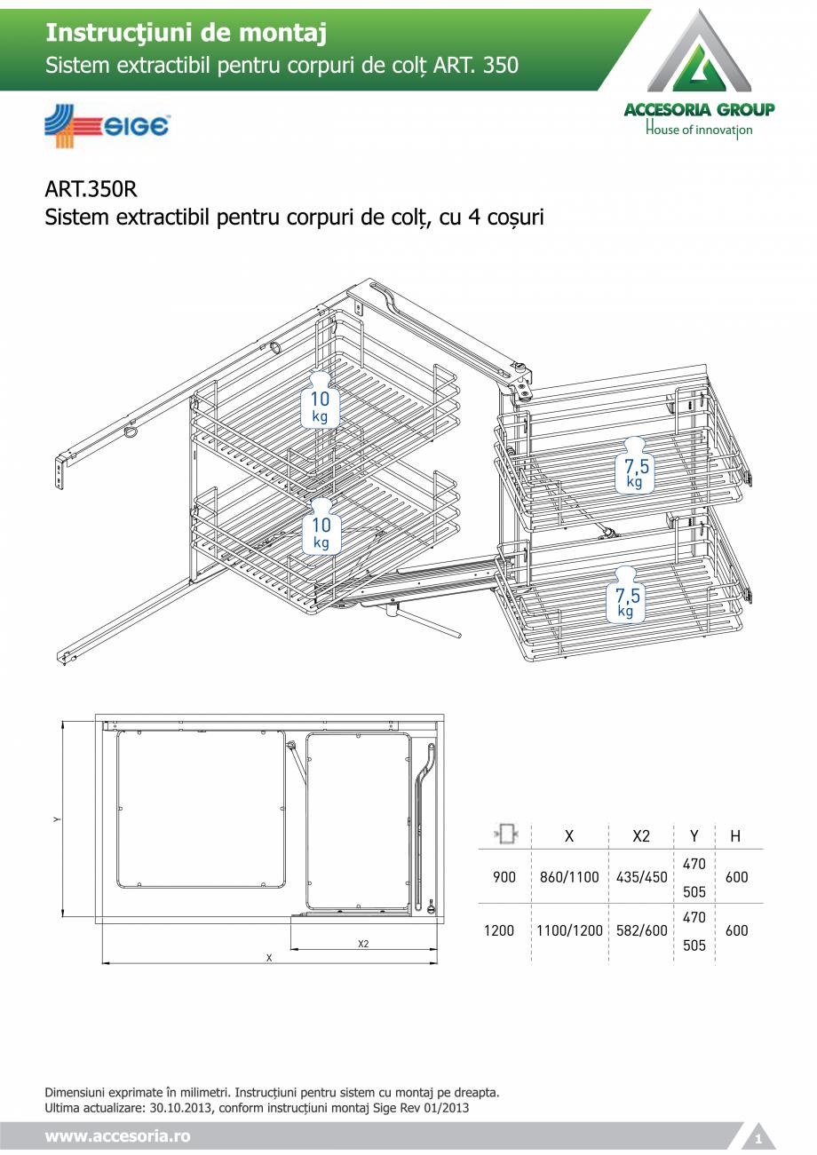 Pagina 1 - Sistem extractabil pentru corpuri de colt  ACCESORIA GROUP Art 350 Instructiuni montaj,...