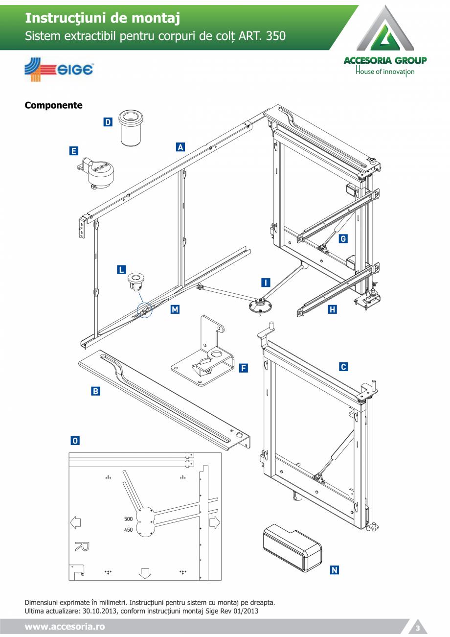 Pagina 3 - Sistem extractabil pentru corpuri de colt  ACCESORIA GROUP Art 350 Instructiuni montaj,...