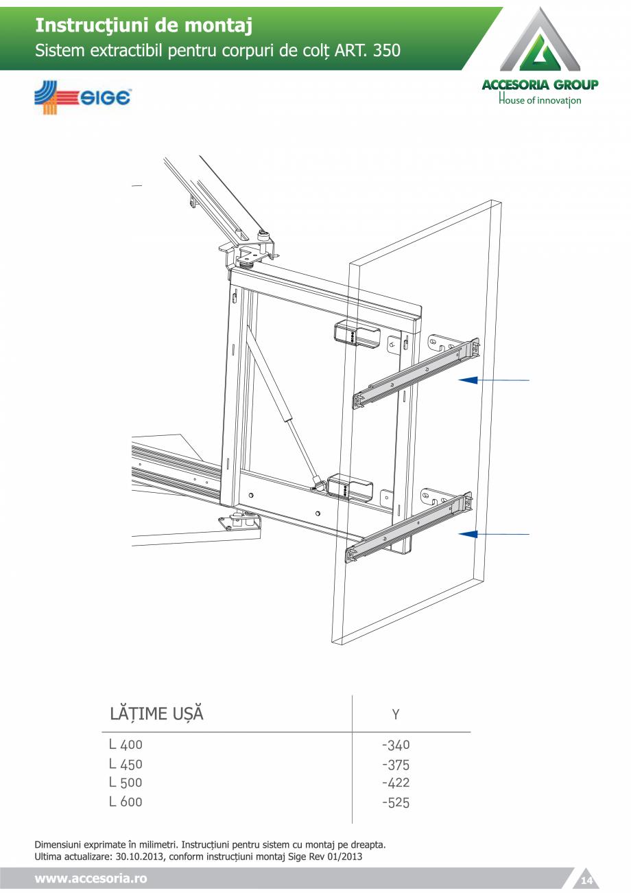 Pagina 14 - Sistem extractabil pentru corpuri de colt  ACCESORIA GROUP Art 350 Instructiuni montaj, ...