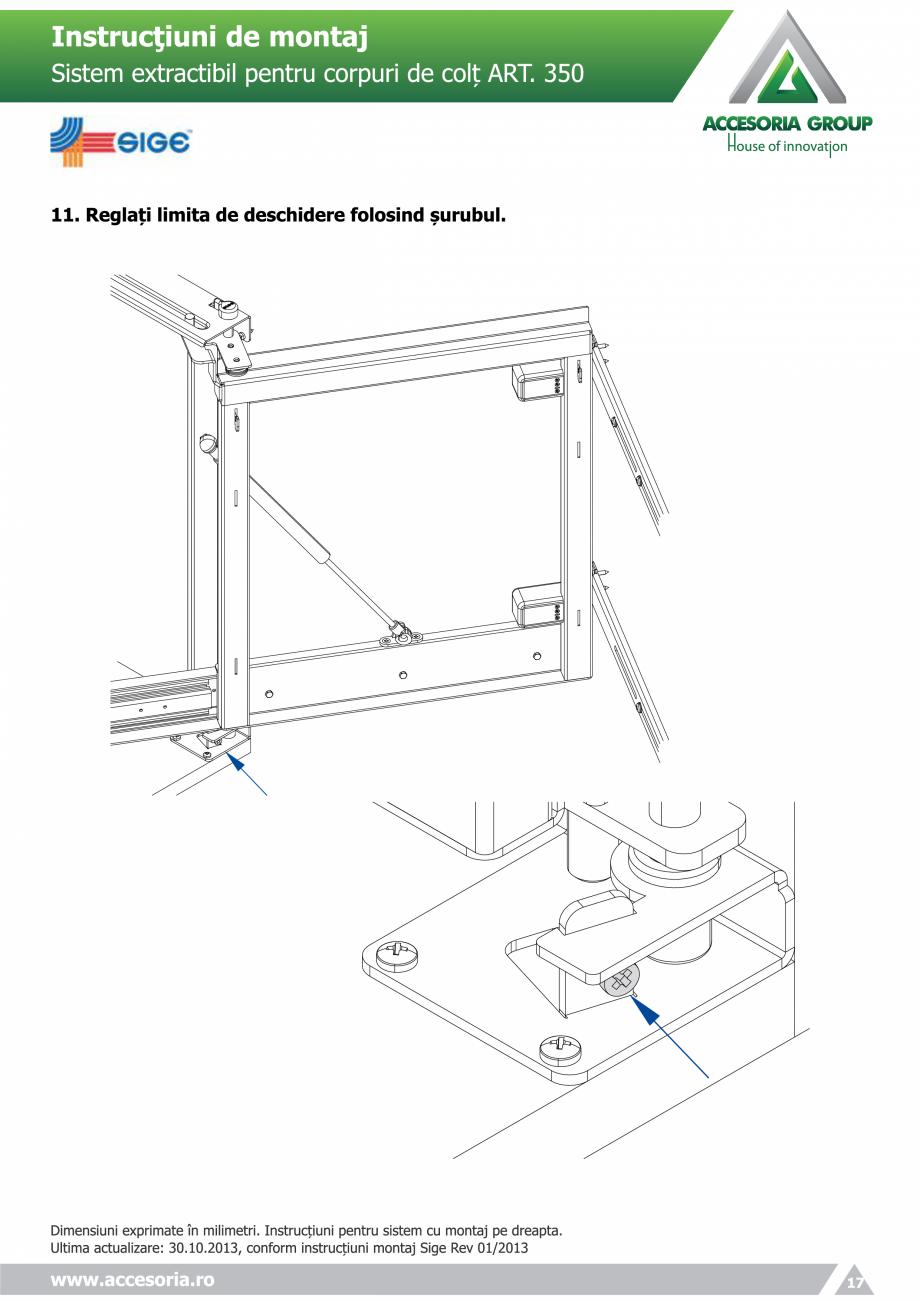 Pagina 17 - Sistem extractabil pentru corpuri de colt  ACCESORIA GROUP Art 350 Instructiuni montaj, ...