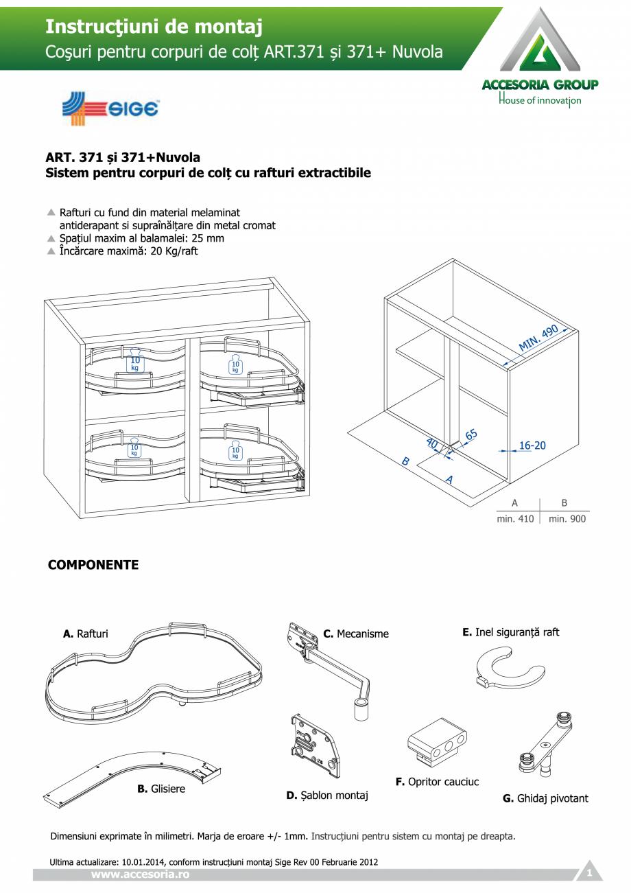 Pagina 1 - Cosuri pentru corpuri de colt  ACCESORIA GROUP Art 371 Nuvola Instructiuni montaj,...