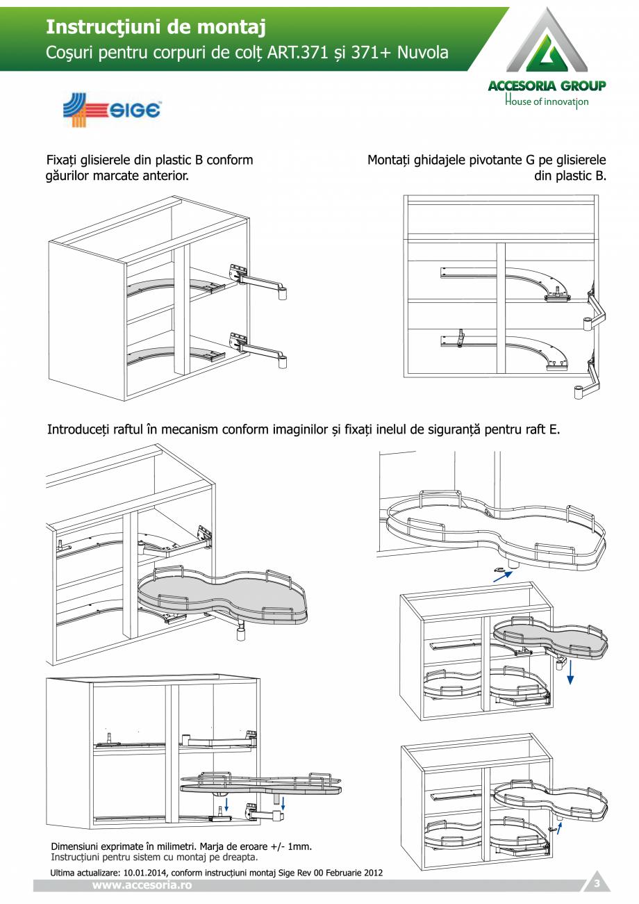 Pagina 3 - Cosuri pentru corpuri de colt  ACCESORIA GROUP Art 371 Nuvola Instructiuni montaj,...